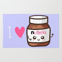 nutella Area & Throw Rugs featuring Love Nutella by Kleviee