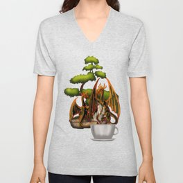 Hot Coffee with Bonsai and Fire Dragons Unisex V-Neck