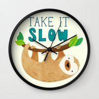 sloth Wall Clocks featuring Sloth by Claire Lordon