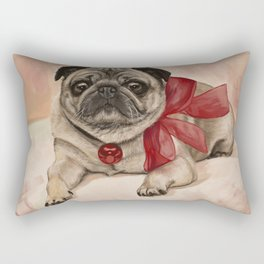 The pug with a red bow Rectangular Pillow