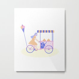 Ice cream girl Metal Print