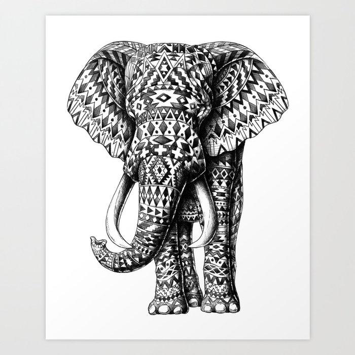 Tribal Elephant Art Print By Bioworkz Society6