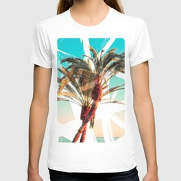 Modern summer tropical palm trees seascape photography white abstract geometric brushstrokes paint T-shirt