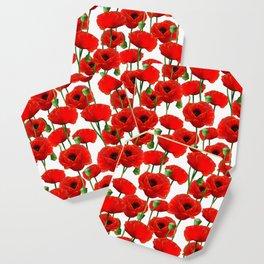 Red Poppy Pattern Coaster