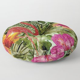 Tropical Vintage Exotic Jungle- Floral and Flamingo watercolor pattern Floor Pillow