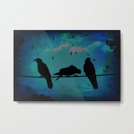 Crows looking for the rainbow Metal Print