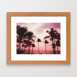Tropical Palm Tree Pink Sunset Framed Art Print