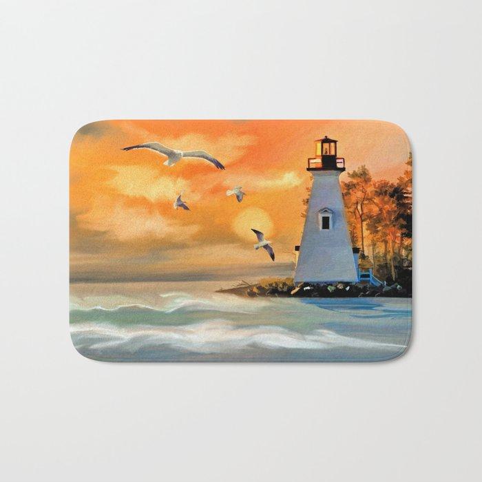 Sunset Lighthouse Bath Mat