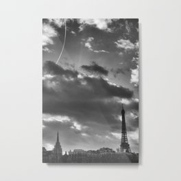 Eiffel tower under the clouds Metal Print