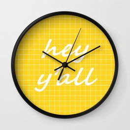 hey y'all - yellow Wall Clock