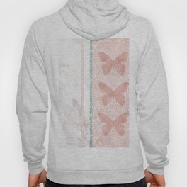 Snow White Peach Butterfly Abstract Pattern Hoody