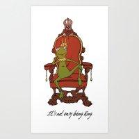 kermit Art Prints featuring King Kermit by Kid Rose