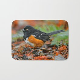 Profile of a Spotted Towhee Bath Mat