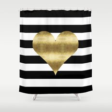 gold heart black and white stripe Shower Curtain