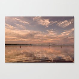 Evening at a lake - Pink Sundown with Clouds on the Water Canvas Print