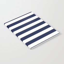 Nautical Navy Blue and White Stripes Notebook