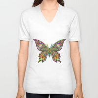 psychedelic art V-neck T-shirts featuring Butterfly Psychedelic Art Design by BluedarkArt
