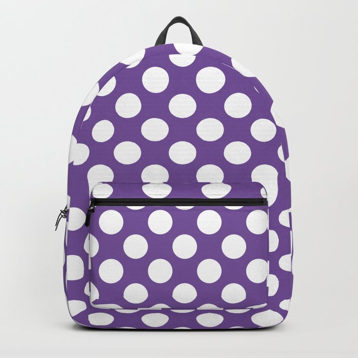 White Polka Dots with Purple Background Rucksack