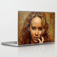 jennifer lawrence Laptop & iPad Skins featuring Portrait of Jennifer Lawrence by André Joseph Martin