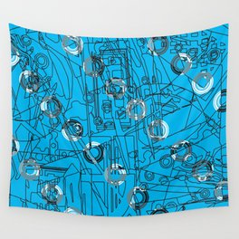 Glory Turquoise with Polo Circles Wall Tapestry