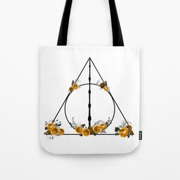 Deathly Hallows in Gold and Gray Tote Bag