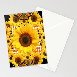 BLACK & MONARCH BUTTERFLIES & YELLOW SUNFLOWERS Stationery Cards