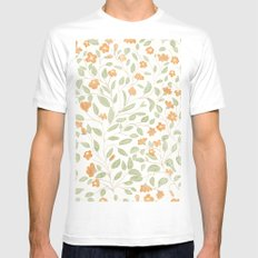 Spring Orange Floral Pattern White MEDIUM Mens Fitted Tee