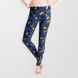 gothic dark occult goth flowers and skulls blue pattern Leggings