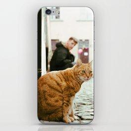 Cat and man iPhone Skin