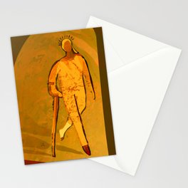 Woman with Crutch walking towards the Spring light Stationery Cards