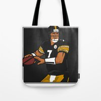 steelers Tote Bags featuring Big Ben - Steelers QB by lockerroom51