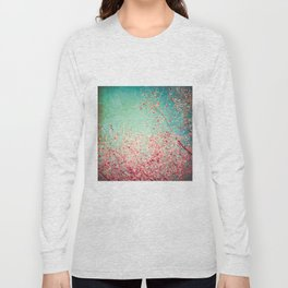 Blue Autumn, Pink leafs on blue, turquoise, green, aqua sky Long Sleeve T-shirt