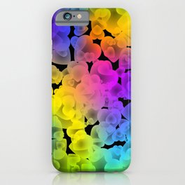 Neon intersecting yellow hearts on a sparkling background. iPhone Case