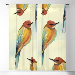 Watercolor Bird Pattern - Multicolor Feathers Blackout Curtain
