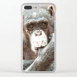 Thumb Sucking Chimpanzee Clear iPhone Case
