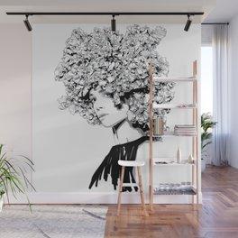 Fashion portrait illustration haute couture Valentino inspired design Wall Mural