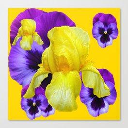 PURPLE PANSIES & YELLOW IRIS MONTAGE Canvas Print