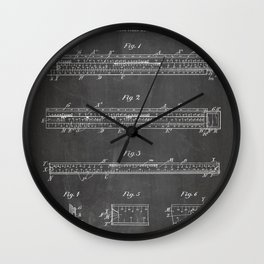 Engineering Patent - Engineers Slide Rule Art - Black Chalkboard Wall Clock