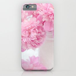 Romantic Shabby Chic Pink Peonies White Jars   iPhone Case