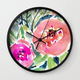 Peach Floral Wall Clock