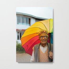 Old Man With Umbrella Metal Print