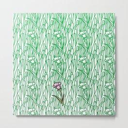 Garden Blooms - seamless pattern grass and flowers Metal Print