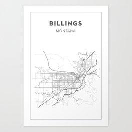 BILLINGS Map Print Art Print