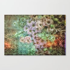 Shabby Retro Floral Canvas Print