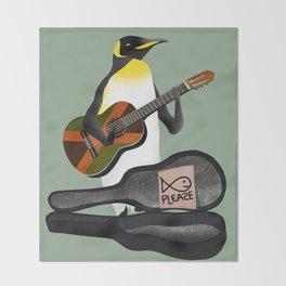 Penguin Busking Throw Blanket