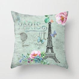 Paris - my love - France Eiffeltower Nostalgy - French Vintage Throw Pillow