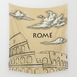Rome vintage poster travel Wall Tapestry