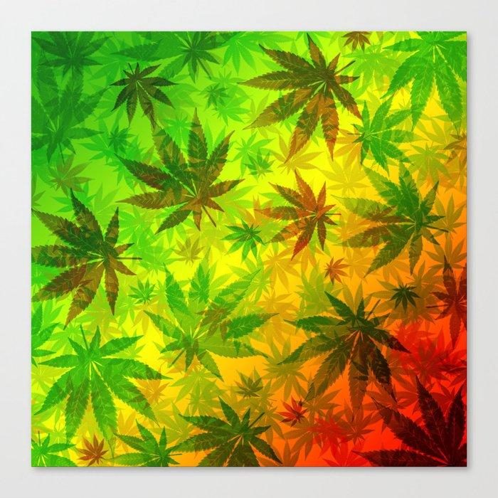 85c69555859c Marijuana Leaves Rasta Colors Canvas Print by bluedarkatlem