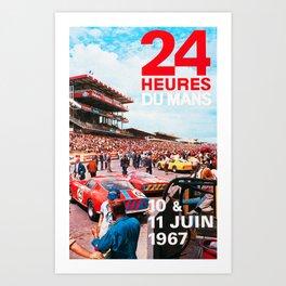 24hs Le Mans 1967, vintage poster Art Print