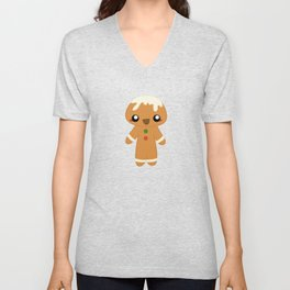 Christmas Card - Gingerbread Kid Unisex V-Neck